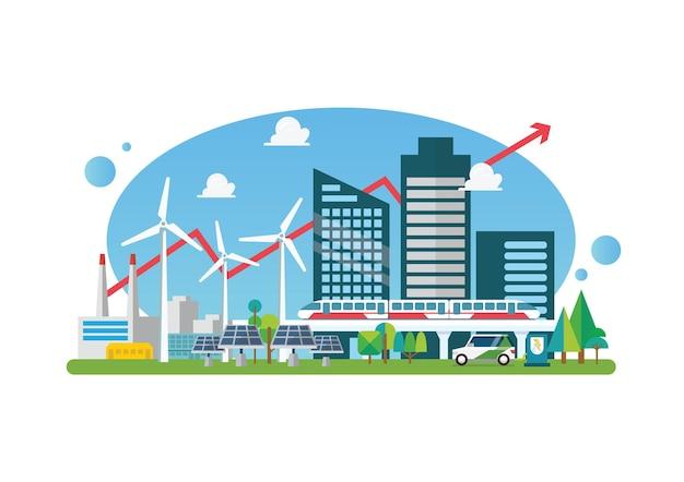 Эко-устойчивый город. плоский стиль векторные иллюстрации