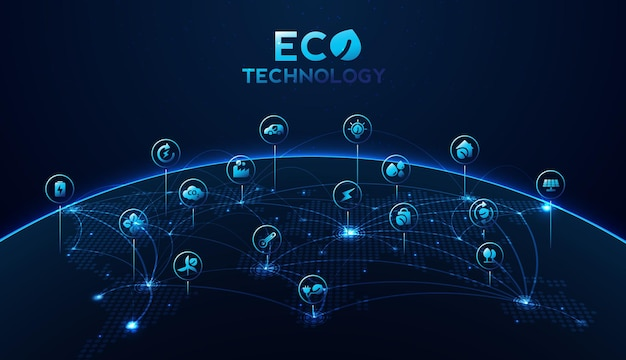 Eco technology or environmental technology concept with environment icons over the network connection. vector design.