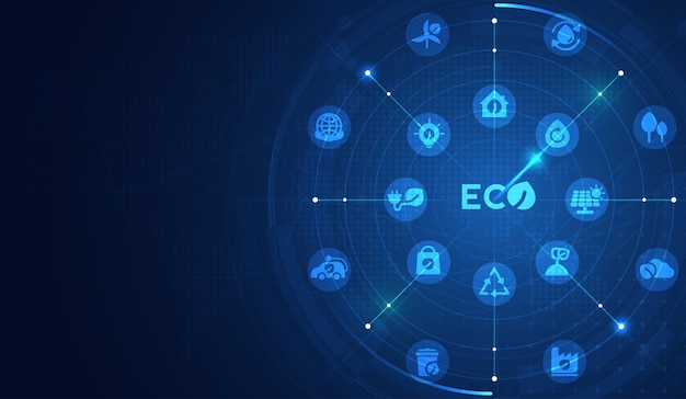 Eco technology or environmental technology concept with environment icons over the network
