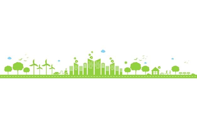 에코 기술 또는 환경 개념 현대 녹색 도시와 내부에서 자라는 식물 잎