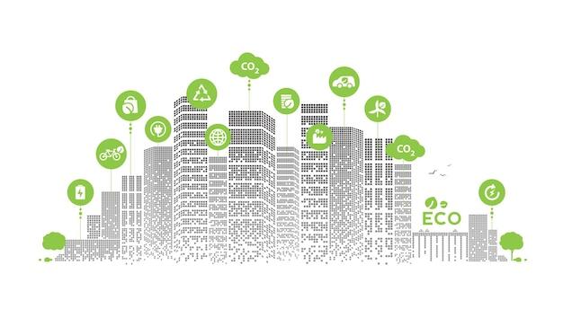 에코 기술 또는 환경 개념 현대 녹색 도시입니다. 네트워크 연결을 통해 아이콘이 있는 친환경적인 도시 생활 방식. 벡터 디자인입니다.