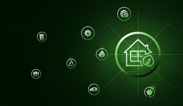 ネットワーク接続を介した環境アイコンを使用したエコテクノロジーまたは環境テクノロジーの概念。ベクトルデザイン。