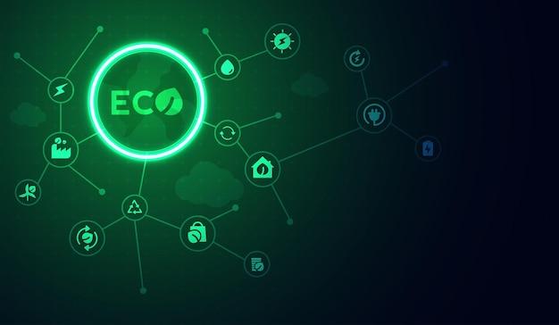 네트워크를 통해 환경 아이콘이 있는 에코 기술 또는 환경 기술 개념