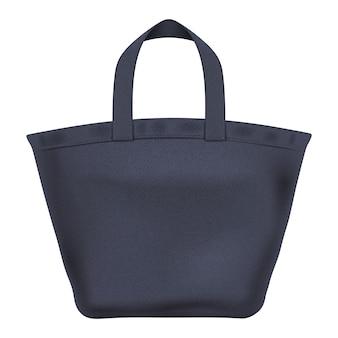 エコテキスタイルブラックトートショッパーバッグイラスト。ブランディングに適しています。