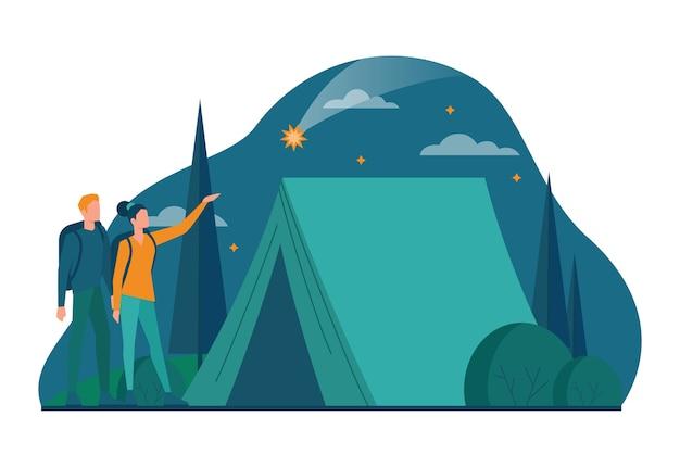 エコツーリズムとエコ旅行のコンセプト。野生の自然、ヒッキング、カヌーでの環境にやさしい観光。バックパックとテントを持った観光客。ベクトルイラスト。