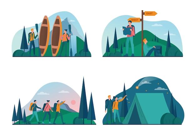 エコツーリズムとエコ旅行のコンセプトセット。野生の自然、ヒッキング、カヌーでの環境にやさしい観光。バックパックとテントを持った観光客。 。