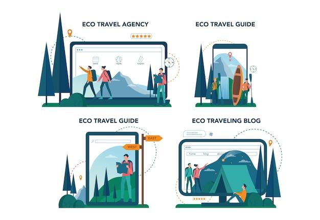 異なるデバイスセットでのエコツーリズムとエコ旅行のオンラインサービスまたはプラットフォーム。野生の自然の中で環境にやさしい観光。ヒッキングとカヌー。ブログ、ウェブサイト、ガイド。 。