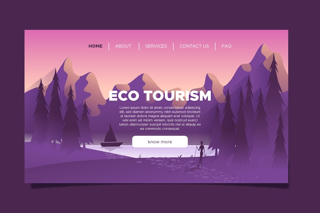 Pagina di destinazione del concetto di turismo ecologico