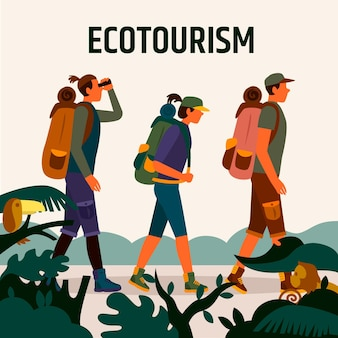 Eco tourism concept with friends