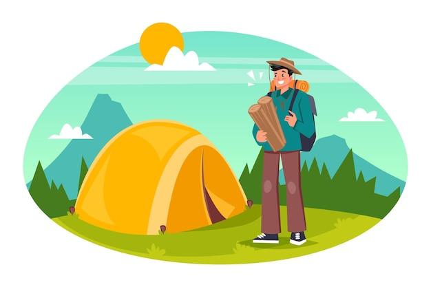 Eco tourism concept with man