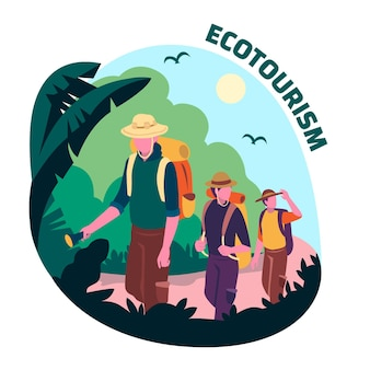 Eco tourism concept with travelers