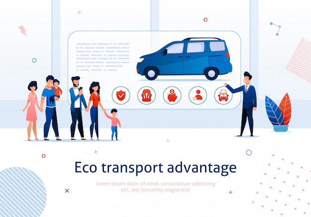 Eco transport advantage. salesman presentation to cartoon family ecological minivan vector illustration
