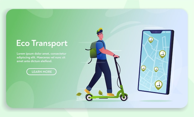 Eco transport concept. rent and ride electrical scooter. cartoon vector illustration. cool young character. urban activity. location and tracking on smartphone