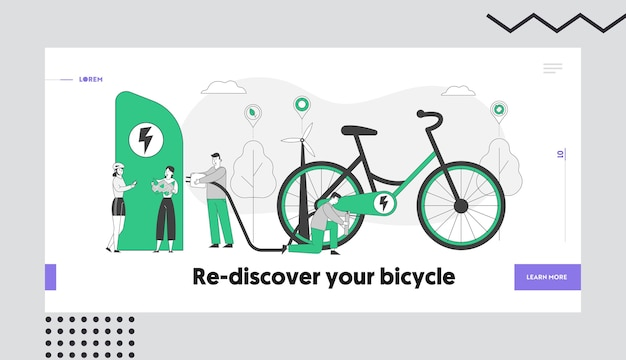 Eco transport, ecology protection healthy lifestyle landing page template