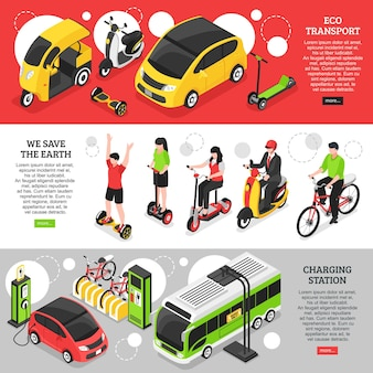 Eco transport horizontal banners with city and personal vehicles and charging station for electric cars isometric
