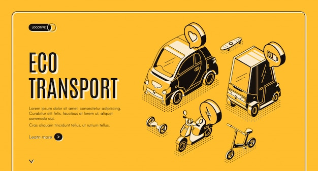 Eco transport isometric banner template