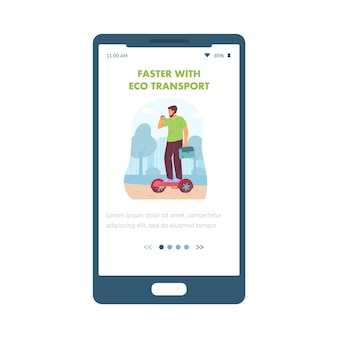 Eco transport onboarding screen with man on scooter flat vector illustration
