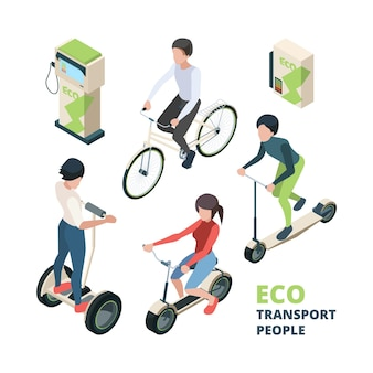 Eco transport people. 3d bicycle electric car urban vehicle bike segway  isometric illustrations.