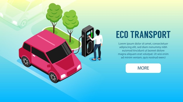 Eco transport with woman charging her electric car illustration