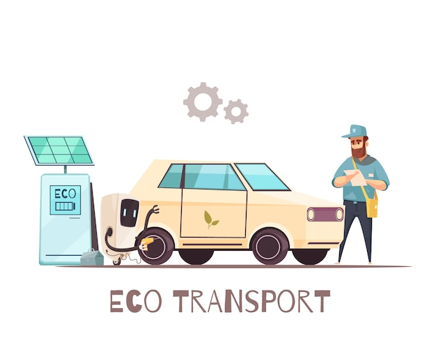Eco transportation vehicle cartoon
