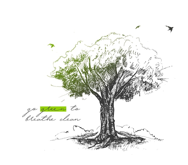 Eco tree with text of go green to breath clean hand drawn sketch vector illustration