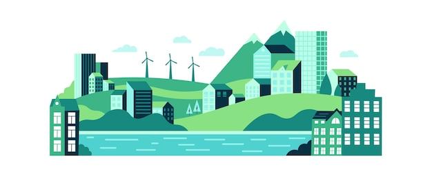 建物、丘、山々のあるエコ都市景観。