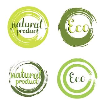 Эко-векторный набор с рамками круга, элементами дизайна. этикетка с рукописным натуральным продуктом.