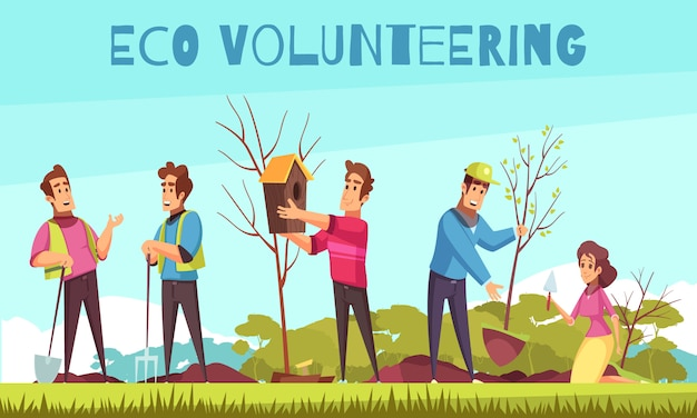 Eco volunteering cartoon composition
