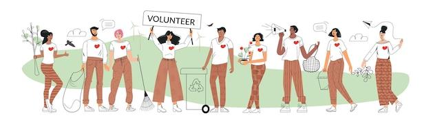 エコボランティアとボランティアコンセプトグループゼロウェイストとグリーン活動家の若者を考える