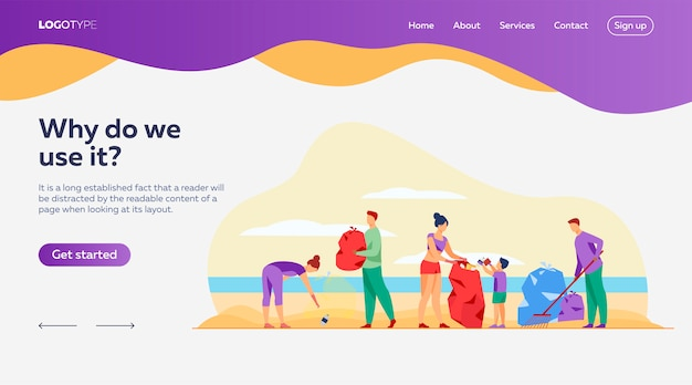 Eco volunteers cleaning sea landing page template