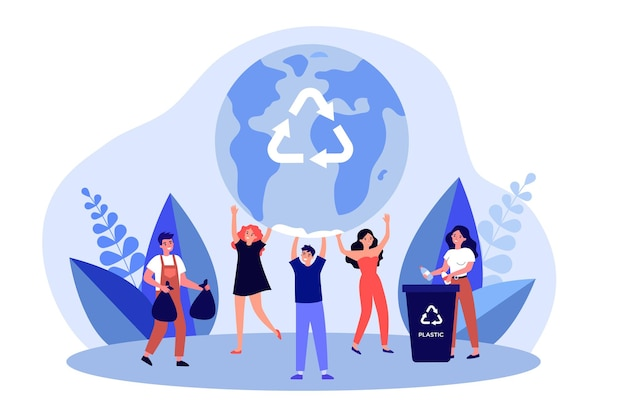 Eco volunteers saving earth from pollution. people recycling separating trash. men and women sorting garbage. environment care, save world concept. flat vector cartoon illustration.