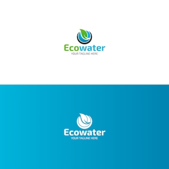 Eco water logo design with leaf