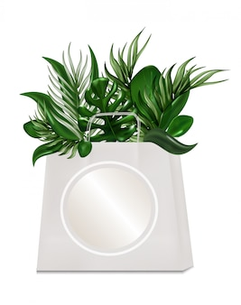Сумка eco для ходить по магазинам тропических листьев изолированных на белизне.