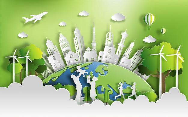 Люди наслаждаются деятельностью напольной с концепцией города eco зеленого цвета.