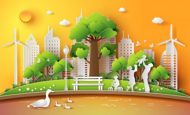 Семья наслаждается деятельностью напольной с концепцией eco.