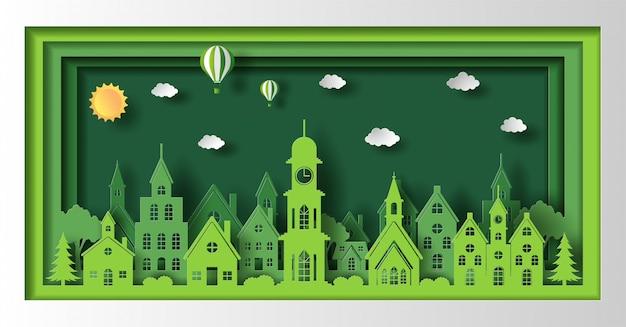Бумажный стиль искусства ландшафта с городом eco зеленым, сохраняет концепцию планеты и энергии.