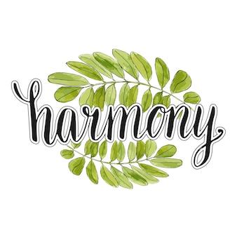 Гармония почерк надпись с акварель листья фон. eco вектор баннер или логотип. каллиграфический плакат