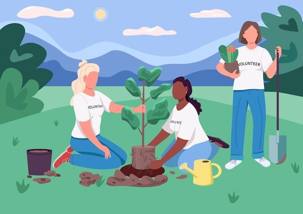 Ecofeminism 평면 색상. 자원 봉사자들은 나무를 심습니다. 걸스카우트는 자연을 보호합니다. 여성 생태 학자. 배경에 자연 풍경과 생태 2d 만화 익명의 캐릭터 여성