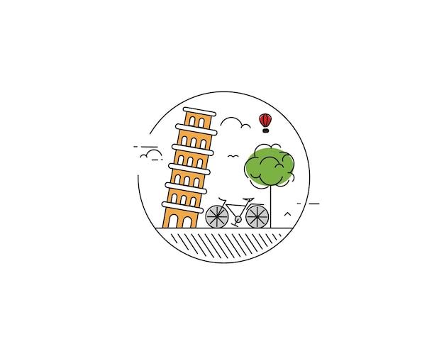 Ecofriendly city district  modern flat design style vector illustration