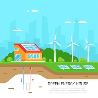 環境にやさしい家。グリーンエネルギー。太陽光、風力、地熱発電。フラットスタイル