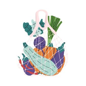 野菜入りの環境にやさしいメッシュショッピングバッグ