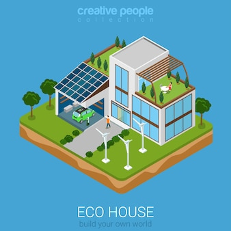Ecohouse flat isometric style illustration concept flat world collection