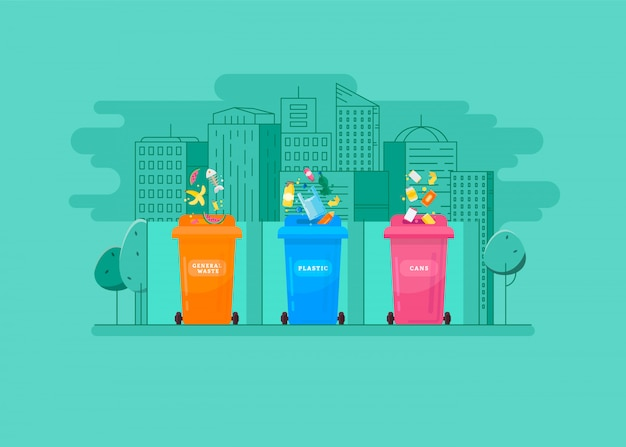 Ecologic concept - trash sorting into the colored containers