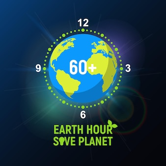 Ecological action earth hour. planet earth in the shape of a clock