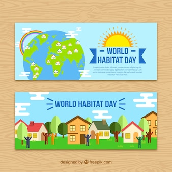 Ecological banners of world habitat day