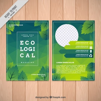 Ecological brochure with green leaves