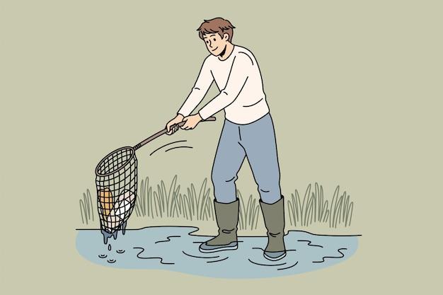 생태 관리 및 환경 개념입니다. 물 혼자 벡터 일러스트 레이 션에서 쓰레기 쓰레기를 수집 하는 그물과 함께 서 있는 젊은 웃는 남자 만화 캐릭터