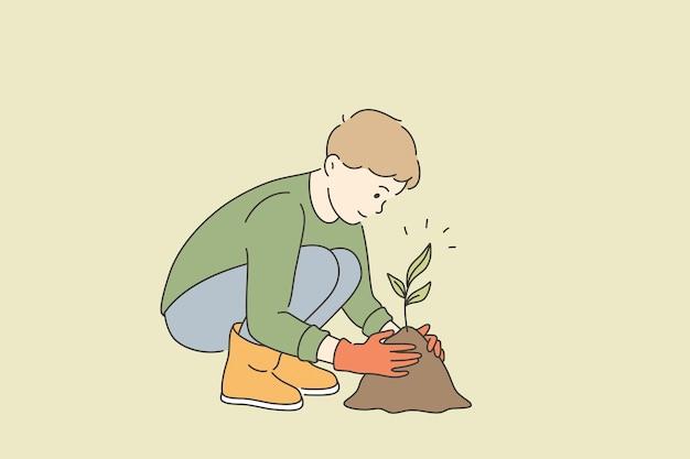 생태 관리 및 성장 식물 개념
