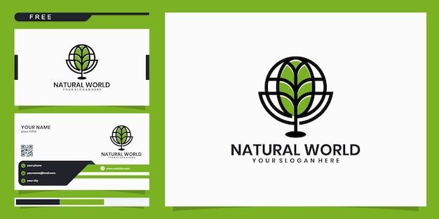 Шаблон логотипа экологической компании. комбинация мирового логотипа с логотипом в виде листа