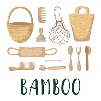 Ecological concept - bamboo bags, cutlery